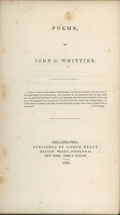 Poems. SLAVERY, John Greenleaf Whittier