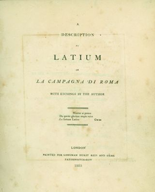A Description of Latium or La Campagna de Roma. With Etchings by the Author. ELLIS CORNELIA KNIGHT
