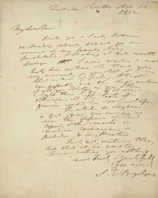 Holograph note signed and dated Tunbridge Wells Nov. 10, 1812, to poet and writer Robert Pearse...