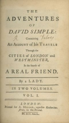 The Adventures of David Simple: Containing An Account of his Travels through the Cities of London...