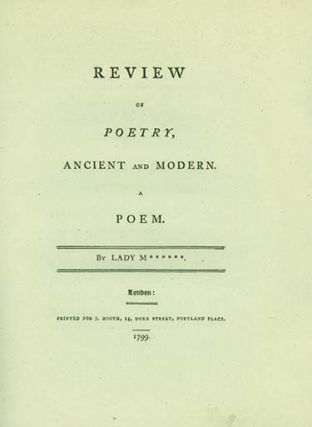 Review of Poetry, Ancient and Modern. A Poem. By Lady M******. CATHERINE REBECCA MANNERS, LADY